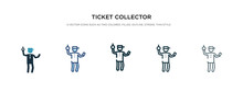 Ticket Collector Icon In Different Style Vector Illustration. Two Colored And Black Ticket Collector Vector Icons Designed In Filled, Outline, Line And Stroke Style Can Be Used For Web, Mobile, Ui