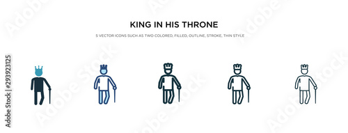 king in his throne icon in different style vector illustration Wallpaper Mural