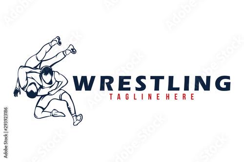wrestling logo icon vector isolated Wallpaper Mural