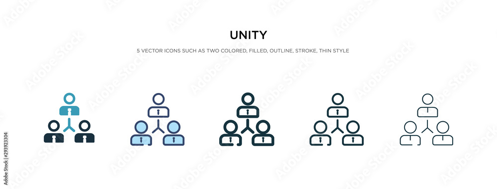 Fototapeta unity icon in different style vector illustration. two colored and black unity vector icons designed in filled, outline, line and stroke style can be used for web, mobile, ui