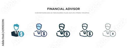 financial advisor icon in different style vector illustration Wallpaper Mural