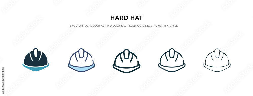 Fototapeta hard hat icon in different style vector illustration. two colored and black hard hat vector icons designed in filled, outline, line and stroke style can be used for web, mobile, ui