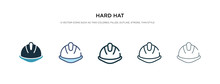 Hard Hat Icon In Different Style Vector Illustration. Two Colored And Black Hard Hat Vector Icons Designed In Filled, Outline, Line And Stroke Style Can Be Used For Web, Mobile, Ui