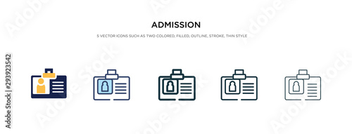 Fototapeta admission icon in different style vector illustration. two colored and black admission vector icons designed in filled, outline, line and stroke style can be used for web, mobile, ui obraz