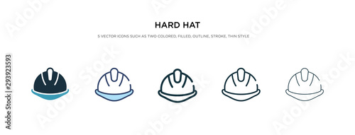 Obraz hard hat icon in different style vector illustration. two colored and black hard hat vector icons designed in filled, outline, line and stroke style can be used for web, mobile, ui - fototapety do salonu