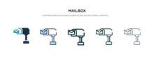 Mailbox Icon In Different Style Vector Illustration. Two Colored And Black Mailbox Vector Icons Designed In Filled, Outline, Line And Stroke Style Can Be Used For Web, Mobile, Ui