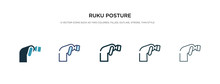 Ruku Posture Icon In Different Style Vector Illustration. Two Colored And Black Ruku Posture Vector Icons Designed In Filled, Outline, Line And Stroke Style Can Be Used For Web, Mobile, Ui