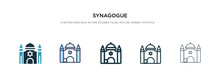 Synagogue Icon In Different Style Vector Illustration. Two Colored And Black Synagogue Vector Icons Designed In Filled, Outline, Line And Stroke Style Can Be Used For Web, Mobile, Ui