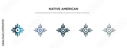 Fotografering native american sun icon in different style vector illustration