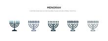 Menorah Icon In Different Styl...
