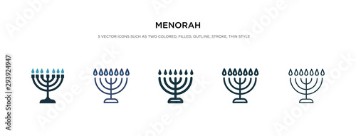 Photo menorah icon in different style vector illustration