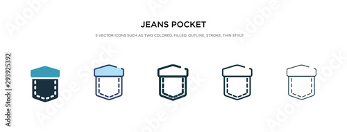 Fotografía jeans pocket icon in different style vector illustration