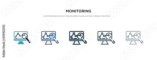 monitoring icon in different style vector illustration. two colored and black monitoring vector icons designed in filled, outline, line and stroke style can be used for web, mobile, ui