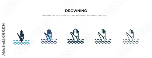 Fotografija drowning icon in different style vector illustration