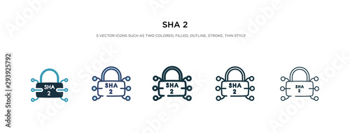sha 2 icon in different style vector illustration Canvas Print