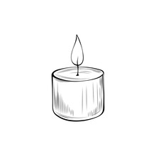 Burning Candle Hand Drawn Vect...