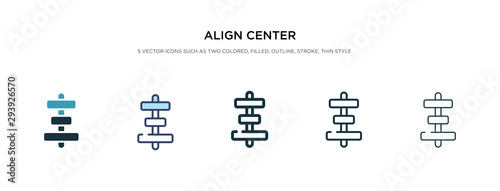 Photo align center icon in different style vector illustration