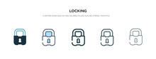 Locking Icon In Different Style Vector Illustration. Two Colored And Black Locking Vector Icons Designed In Filled, Outline, Line And Stroke Style Can Be Used For Web, Mobile, Ui