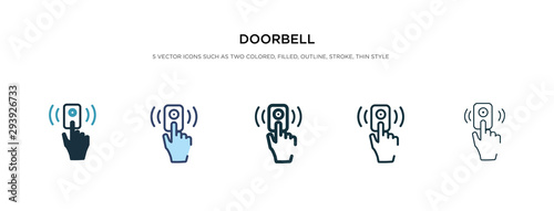 Fényképezés doorbell icon in different style vector illustration