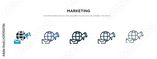 marketing icon in different style vector illustration Wallpaper Mural