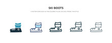 Ski Boots Icon In Different Style Vector Illustration. Two Colored And Black Ski Boots Vector Icons Designed In Filled, Outline, Line And Stroke Style Can Be Used For Web, Mobile, Ui