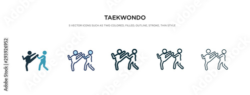 Photo taekwondo icon in different style vector illustration