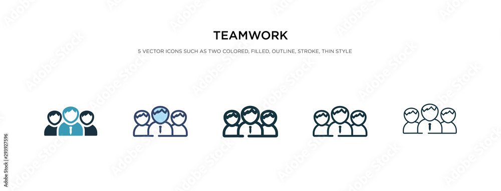 Fototapeta teamwork icon in different style vector illustration. two colored and black teamwork vector icons designed in filled, outline, line and stroke style can be used for web, mobile, ui