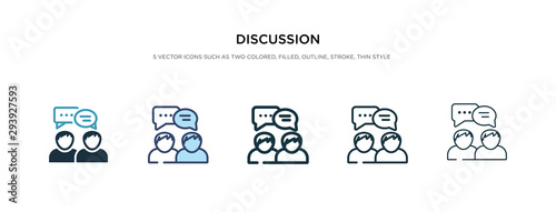 discussion icon in different style vector illustration. two colored and black discussion vector icons designed in filled, outline, line and stroke style can be used for web, mobile, ui