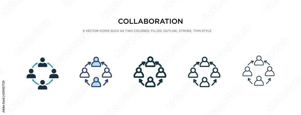 Fototapeta collaboration icon in different style vector illustration. two colored and black collaboration vector icons designed in filled, outline, line and stroke style can be used for web, mobile, ui