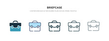 Briefcase Icon In Different Style Vector Illustration. Two Colored And Black Briefcase Vector Icons Designed In Filled, Outline, Line And Stroke Style Can Be Used For Web, Mobile, Ui