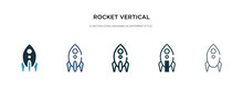 Rocket Vertical Position Icon In Different Style Vector Illustration. Two Colored And Black Rocket Vertical Position Vector Icons Designed In Filled, Outline, Line And Stroke Style Can Be Used For