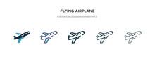 Flying Airplane Icon In Differ...