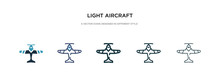 Light Aircraft Icon In Different Style Vector Illustration. Two Colored And Black Light Aircraft Vector Icons Designed In Filled, Outline, Line And Stroke Style Can Be Used For Web, Mobile, Ui