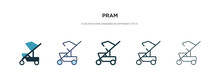 Pram Icon In Different Style V...
