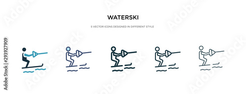 Fényképezés waterski icon in different style vector illustration