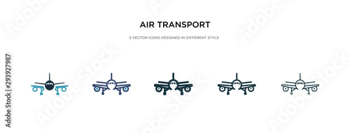 Valokuva air transport icon in different style vector illustration