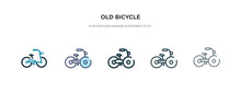 Old Bicycle Icon In Different ...