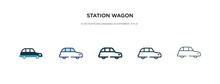 Station Wagon Icon In Differen...