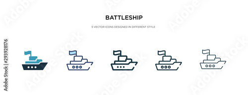 Photo battleship icon in different style vector illustration