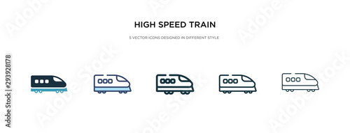 Photo high speed train icon in different style vector illustration