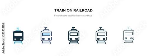 Fotografia train on railroad icon in different style vector illustration