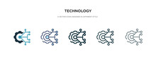 Technology Icon In Different Style Vector Illustration. Two Colored And Black Technology Vector Icons Designed In Filled, Outline, Line And Stroke Style Can Be Used For Web, Mobile, Ui