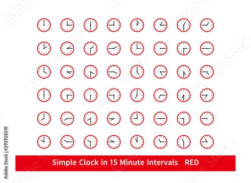 Fotografía 時計のアイコンセット 細かい 文字盤  15分刻み Simple Clock in 15 Minute Intervals 赤