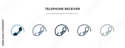 Obraz telephone receiver icon in different style vector illustration. two colored and black telephone receiver vector icons designed in filled, outline, line and stroke style can be used for web, mobile, - fototapety do salonu