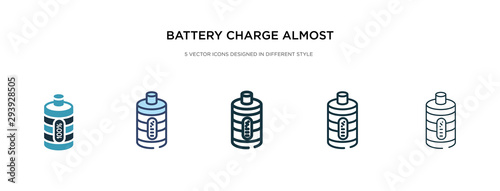 Fototapeta battery charge almost full icon in different style vector illustration