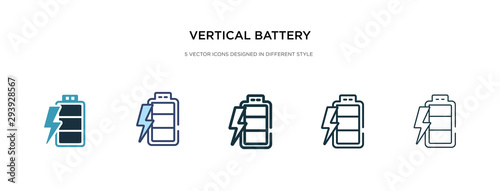 Photo vertical battery with three bars icon in different style vector illustration