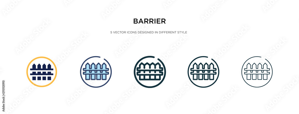 Fototapeta barrier icon in different style vector illustration. two colored and black barrier vector icons designed in filled, outline, line and stroke style can be used for web, mobile, ui