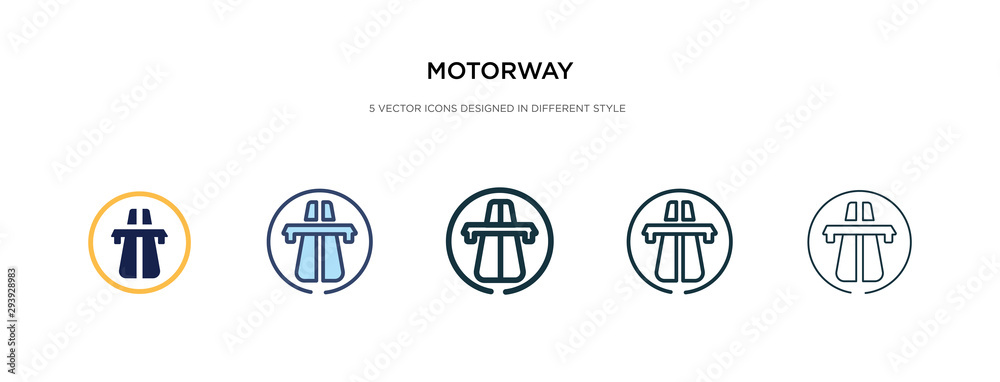 Fototapeta motorway icon in different style vector illustration. two colored and black motorway vector icons designed in filled, outline, line and stroke style can be used for web, mobile, ui