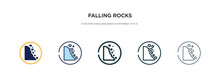 Falling Rocks Icon In Different Style Vector Illustration. Two Colored And Black Falling Rocks Vector Icons Designed In Filled, Outline, Line And Stroke Style Can Be Used For Web, Mobile, Ui