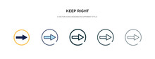 Keep Right Icon In Different Style Vector Illustration. Two Colored And Black Keep Right Vector Icons Designed In Filled, Outline, Line And Stroke Style Can Be Used For Web, Mobile, Ui